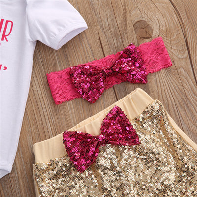 Newborn Cute Baby Girls Clothing Set Cotton crib hair Romper +Sequin Pants+Headband Outfits 3Pcs Set Clothes