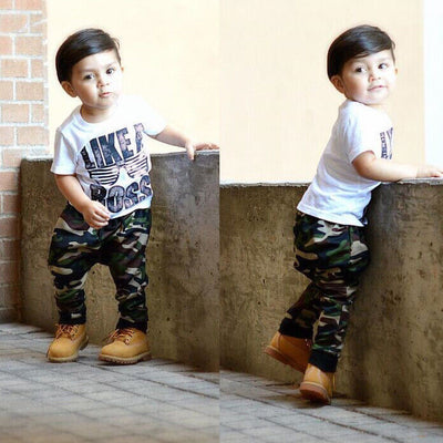 Casual Summer Toddler Baby Kids Boys Clothes Set T-shirt Tops+ Camouflage Long Pants 2PCS Outfits