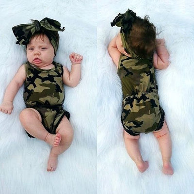 Summer Newborn Baby Boy Girl Clothes Sleeveless Camouflage Romper +Headband 2PCS Outfits Kids