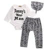 3PCS Set Kids Newborn Baby Boy Romper Tops +Letters mustache Long Pants Hat Outfits Clothes 0-18M