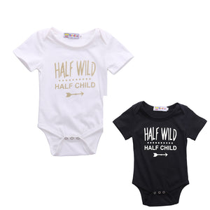Half Wild born Baby boys girls letter Bodysuits onesie Infant Babies Boy Girl Cute Cotton Bodysuit one-piece Outfits Clothing
