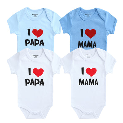 Baby Boy Bodysuits I Love Papa Mama Printed Baby Girls Clothes Set