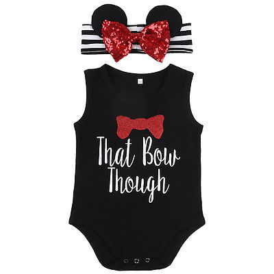 Summer Newborn Baby Girls Sleeveless Bow-knot Romper +Bow Headband 2pc Outfits