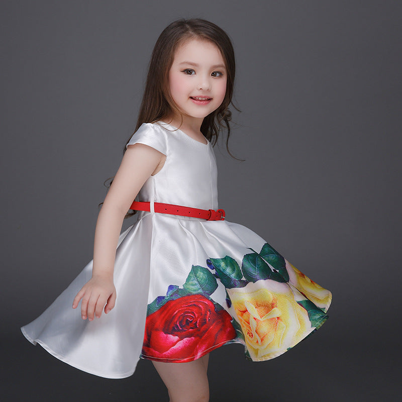 9d5ca4154a5 Girl s Dresses flower Printing girl Party princess Child Summer dress  summer baby girl Luxurious dress+