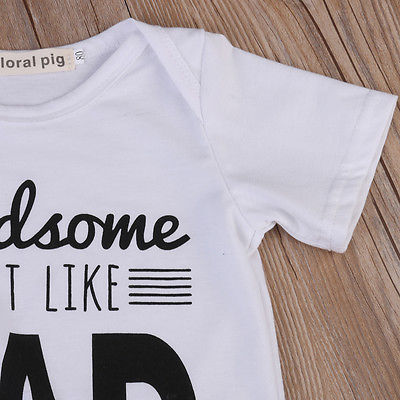 Summer Newborn Baby Cotton Romper Boy Girl DAD Printed Jumpsuit Kids Clothes Outfit