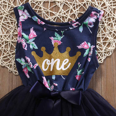 0-2 T Kid Girls Princess Baby Dress Newborn Infant Baby Girl Clothes Purple Floral Crown Print Tutu Ball Gown Party Dresses