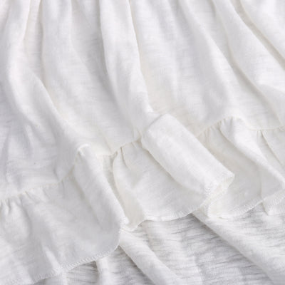 Summer Baby Girl Dress Frills Flare Sleeve Top irregular Party Ruffles Pure White Color Dresses