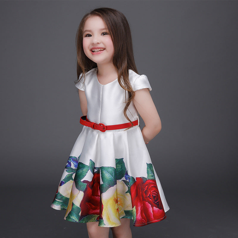 5da3c2224 Summer Fashion Rose flower Printing Girl s Dresses Flower pattern ...