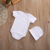 2Pcs/Set Baby Kids Girls bow-knot Romper Short Sleeve Cotton Romper With Hat For 0-18M Baby
