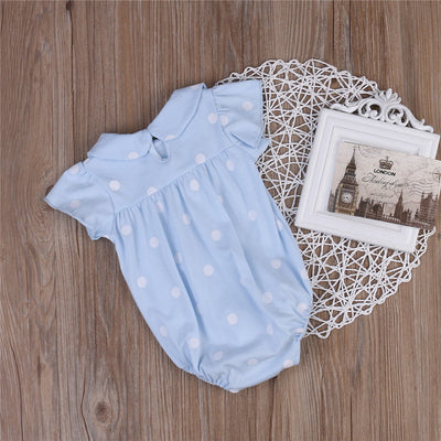 Summer Newborn Baby Girls Short Sleeve Peter pan Collar Romper Polka Dot Jumpsuit Outfits Clothes