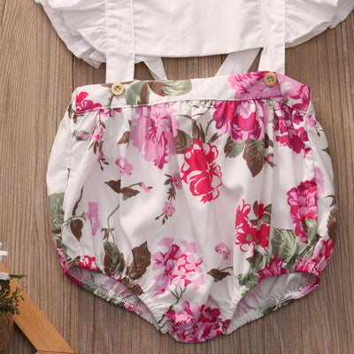 Summer Cute Baby Girl Romper Fly Sleeve Ruffles Floral Rompers Jumpsuit Hollow Out Toddler Kids Clothes Sun suit Outfit