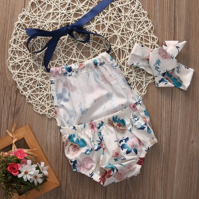 Baby Girl Clothes Set Sleeveless Halter Romper Backless Jumpsuit Baby Headband Outfit Sun suit Children Clothes