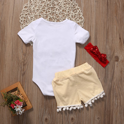 3PCS Set Newborn Baby Girl Clothes Summer Letter Print T-shirt Top + Sequins Pant Headband Outfits Children Clothing Set