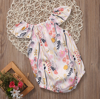 Summer Baby Girls Floral Clothes Short Sleeve branches of the flower Romper Jumpsuit Outfit Sunsuit Clothing