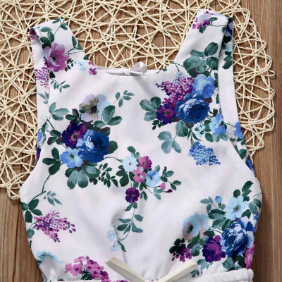 Summer Newborn Toddler Baby Girls Floral Backless Romper Jumpsuit One-pieces Sunsuit Clothes 0-4Y