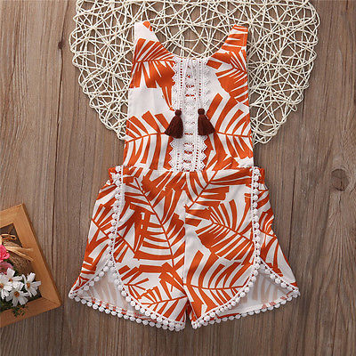 Summer Cute Toddler Baby Kid Girls Floral Wheat Tassel Romper Backless Jumpsuit Clothes Outfit Sunsuits
