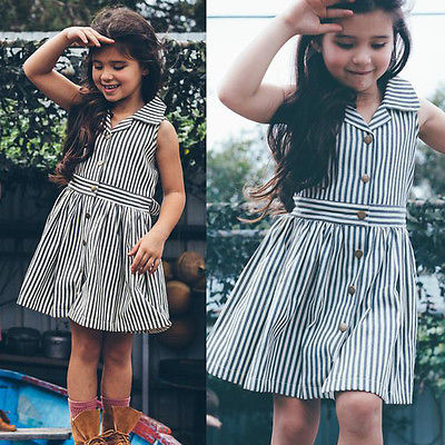 Summer Toddler Kids Girls Cotton Striped Sleeveless Summer Dress With Belt Party Wedding Dresses