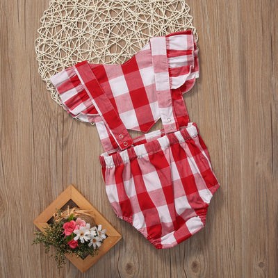 Baby Girls Check Clothes Sleeveless Plaid Romper Butterfly sleeves Jumpsuit Outfit Sun suit
