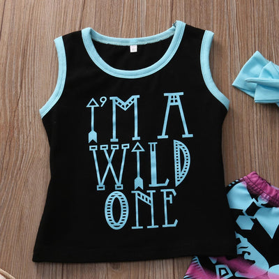 3PCS Set Toddler Kids Girl Clothes Summer Letter T-shirt Top + Geometric Pant Headband Outfits Children Clothing Set