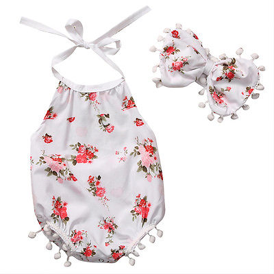 2pcs/Set ! Summer Newborn Infant Baby Girl bow-knot Floral Tassel Romper Toddler Outfits Clothes+Headband