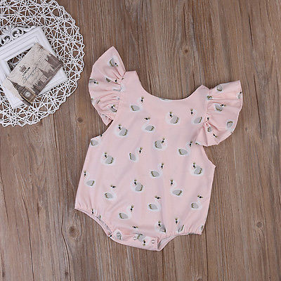 Summer Newborn Infant Baby Boy Girl Swan Print Romper Butterfly sleeves Jumpsuit Clothes Sunsuit Outfit