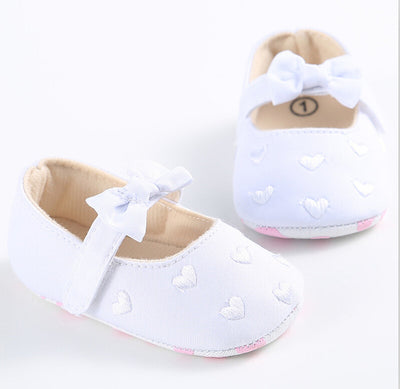First Walkers Baby Crib Fabric Shoes Toddler heart bow-knot Soft Sole Shoes Infant First Walker