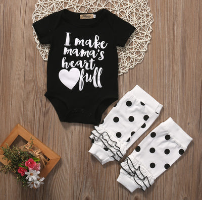 2pcs/Set Newborn Baby Girls Boys Letter Printed Romper Jumpsuit +Warm Legging Clothes 2pcs Sunsuit Outfits Set