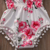 2pcs/Set ! Newborn Toddler Baby Girl Floral Tassel Romper Lace Belt Shoulder Jumpsuit Outfit Sunsuit Clothes With Headband