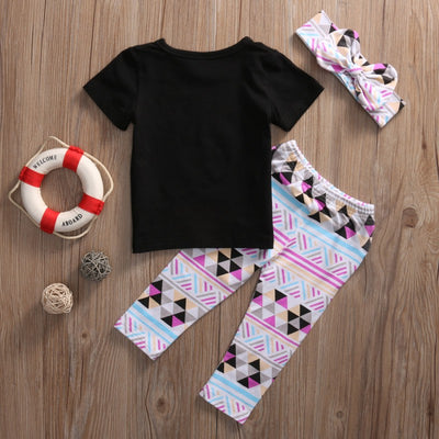 3pcs Toddler Kids Baby Girl WILD THING T-shirt Tops +Geometric Long Pants Headband Outfit Set Clothes