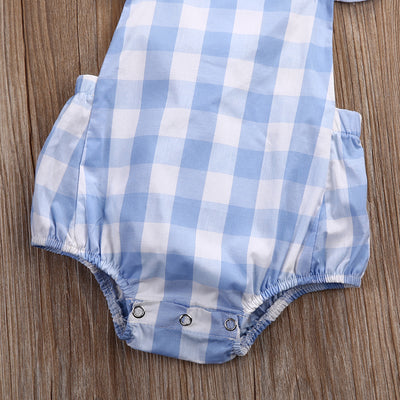 Summer Infant Newborn Baby Girls Kids Butterfly sleeves Plaid Romper Backless Jumpsuit Clothes Sunsuit Outfits