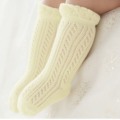 0-4Y New Cute Kids Girl Boy Pure Color Cotton Mesh Anti-slip Knee High Stockings