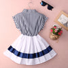 Girls striped Chiffon One-Piece Dress With tie Collar Children Clothes For Kids Baby striped white
