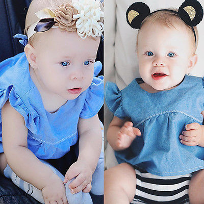 2Pcs Toddler Baby Girls Kids Denim Butterfly sleeves T-shirt Tops +Striped Shorts Clothes Sun-suit Outfits Set