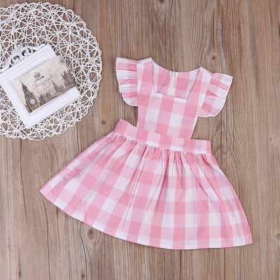Kid Baby Girl Butterfly sleeves Birthday Party Dress Backless Plaid Mini Plaid Dresses