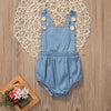 Summer Infant Baby Girls Denim Clothes Playsuit Backless Romper Button Jumpsuit Outfit Sunsuit