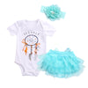 Summer Baby Girls Dream catcher Romper +Lace Tutu Skirt Party Tulle +Headband  3psc/Set Sunsuits Outfits