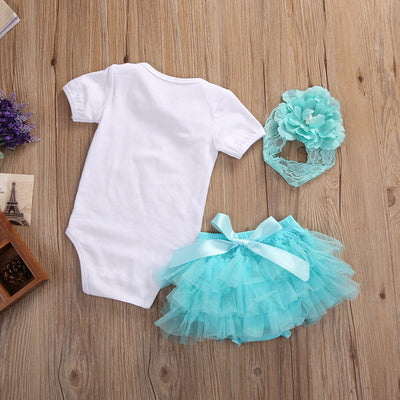Summer Baby Girls Dream catcher Romper +Lace Tutu Skirt Party Tulle +Headband  3psc/Set Sunsuit Outfits