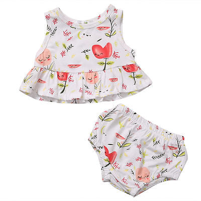 2pcs/Set ! Summer Newborn Infant Baby Girls Lovely Flower Tank Top + shorts Clothes Sun-suit Outfit Set