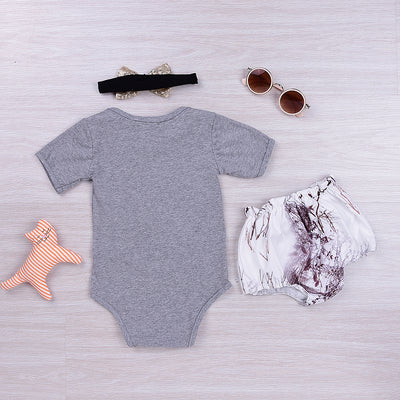Summer Kids Baby Girls Outfits Clothes Deer Rompers+Bloomers Shorts +Headband Sun suit