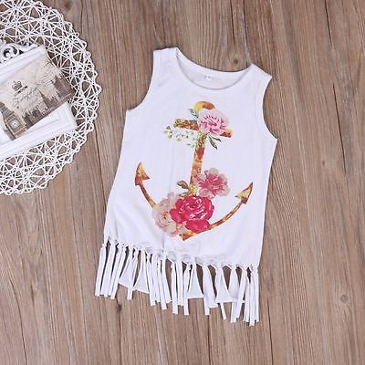 Summer Cute Baby Kids Girls Flower Princess Anchor Party Evening Tutu Cotton Dress Clothes