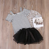 Summer Toddler Baby Kids Girl Dress Vest Striped Off Shoulder Tops T-Shirt+ Black Lace Skirt Outfit Set Clothes