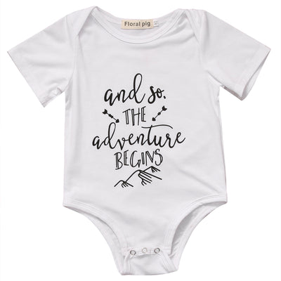 Baby Boys Girls Newborn Cotton Short Sleeve Romper Infant Letter Printed Jumpsuit Outfit Clothes
