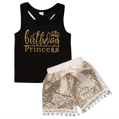 2PCS Newborn Baby Kids Girl Sleeveless Tank Top Vest+ Sequins Shorts Pants  Sunsuits Outfit Clothes Set