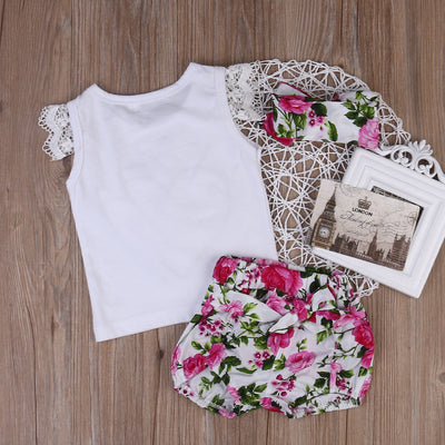 3pcs/Set ! Toddler Kids Baby Girls Outfits Clothes Lace Butterfly sleeves T-shirt Tops+ Bloomers 2PCS Set