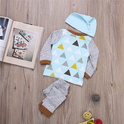 Autumn t shirt Pants Hat set Cartoon Suit Kids Clothes Boys Clothing Set Children Clothing Sets