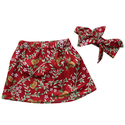 2pcs/Set Baby Girls Kids Summer Clothes Floral Short Mini Lace edge Skirts + Headband 2pcs Outfits