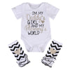 Newborn Infant Baby Girls Outfits I'm daddy girl Romper+ Striped Warm Leggings Jumpsuit Clothes