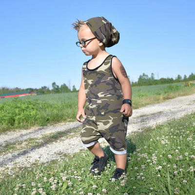 Baby Kids Newborn Boys Camouflage Romper Sleeveless Jumpsuit Cotton Clothes Sun suit Outfit