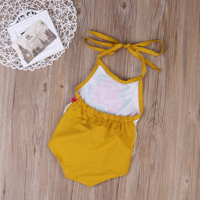 Summer Toddler Floral Tassels Baby Girls Cute Halter Tassel Romper Backless Jumpsuit Sunsuits Clothes