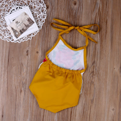 Summer Toddler Floral Tassels Baby Girls Cute Halter Tassel Romper Backless Jumpsuit Sunsuit Clothes